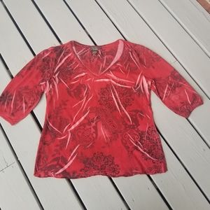 Large red/multi 3/4 sleeve top by Jane Ashley